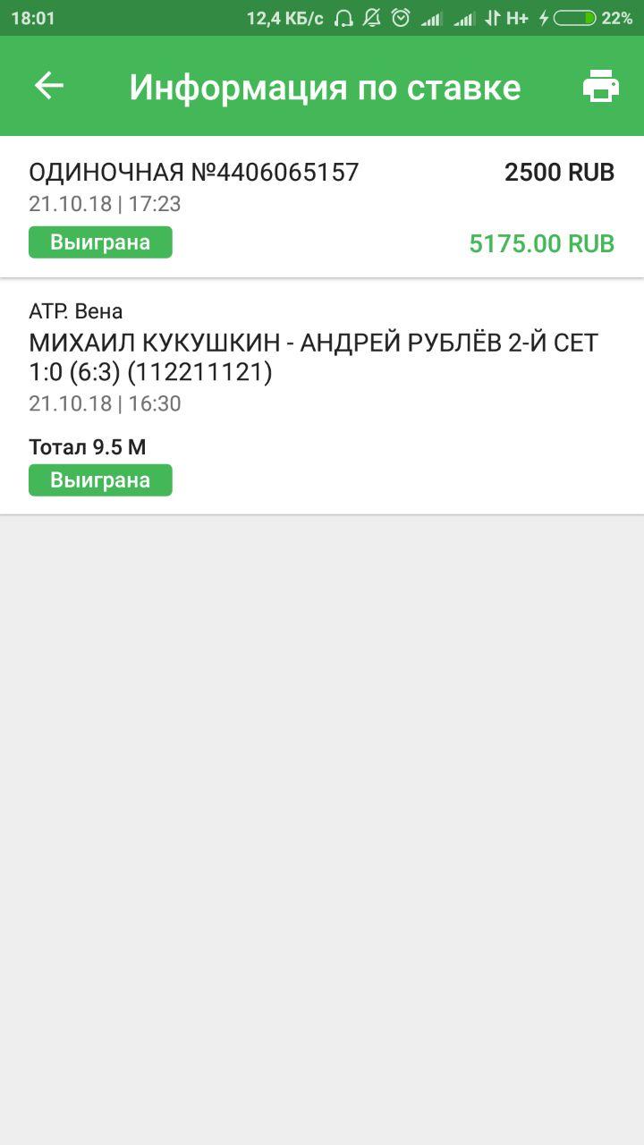 Ставки на матч Кукушкин – Рублёв. Прогноз на теннис 21 Октября 2018